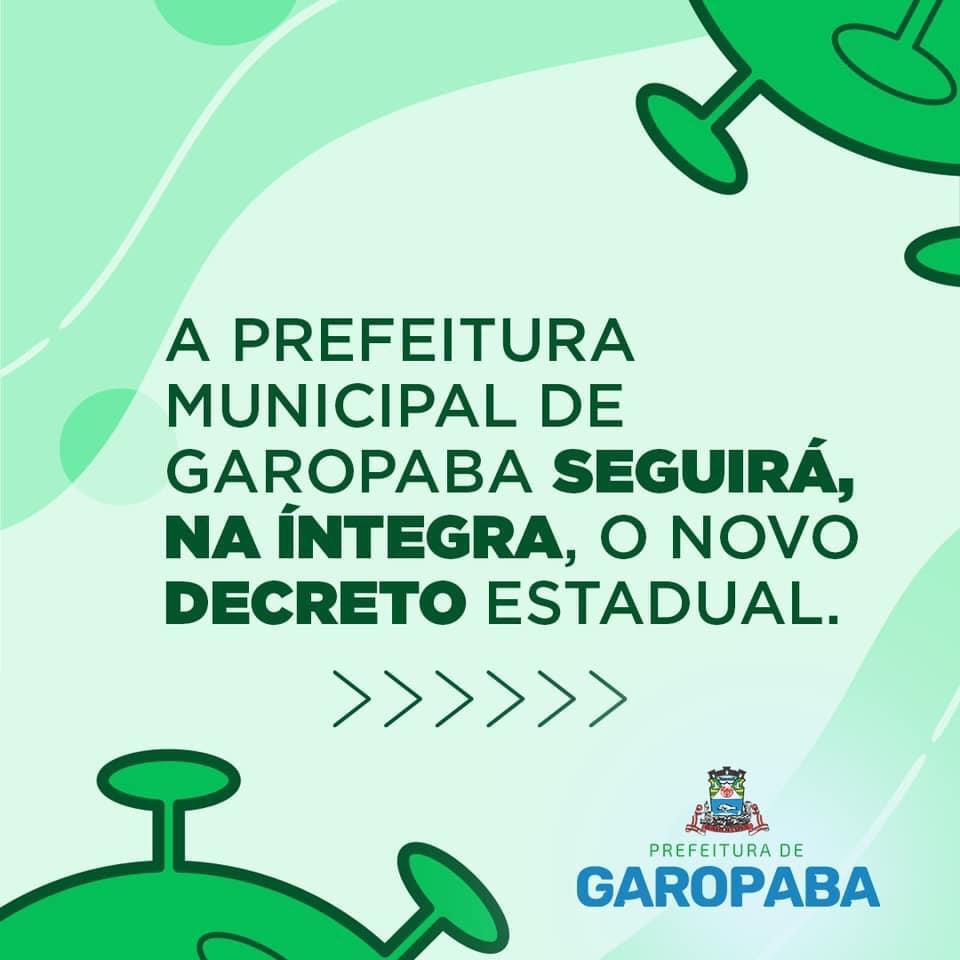 ⚠️ A Prefeitura Municipal de Garopaba seguirá o Decreto Estadual na íntegra